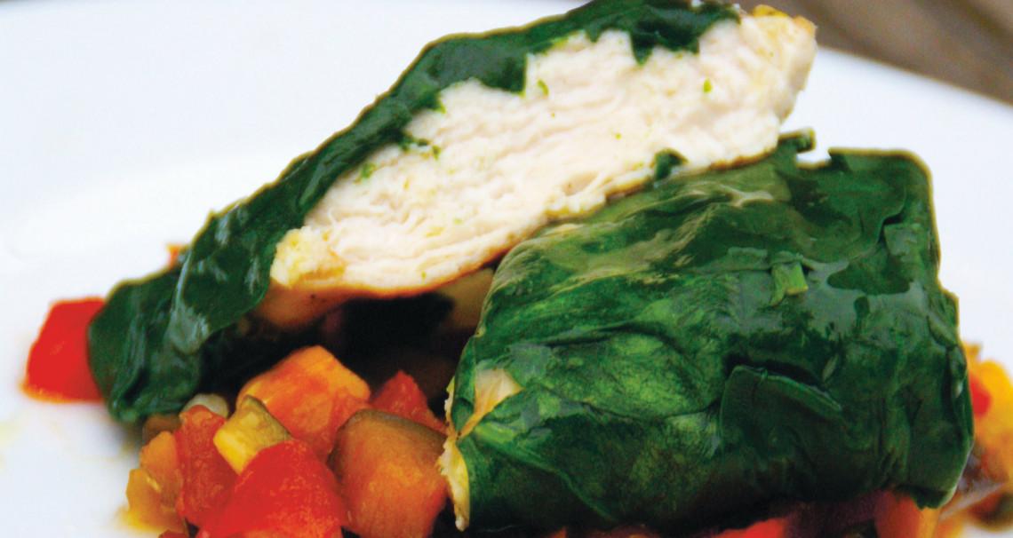 Kuřecí v mangoldu se zeleninovým ratatouille